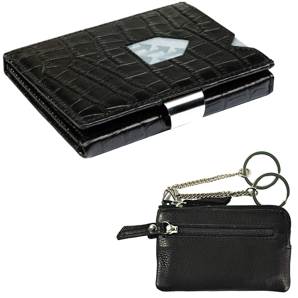 Exentri Wallet  Caiman Black + Leather key case