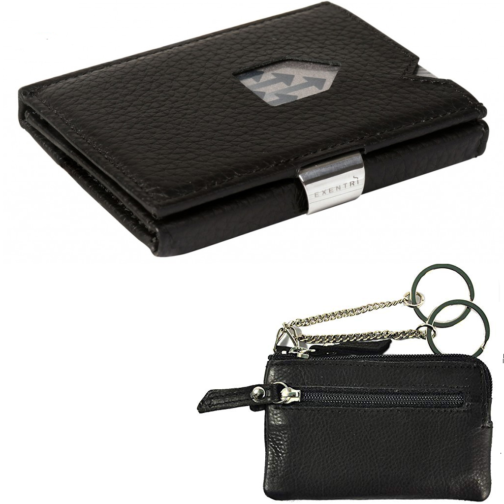Exentri Wallet  Structure Black Non RFID + Leather key case