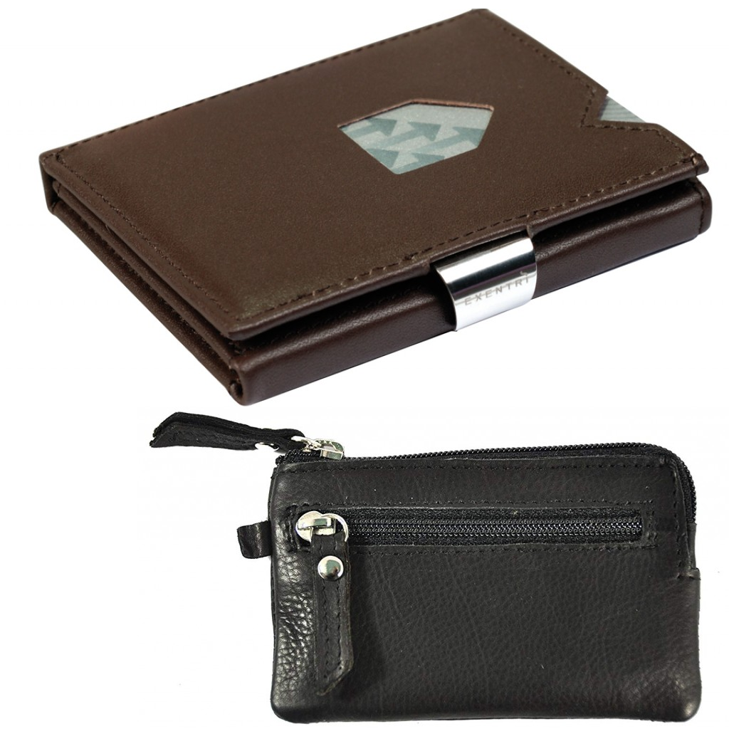 Exentri Wallet Brown NON-RFID + Leather key case
