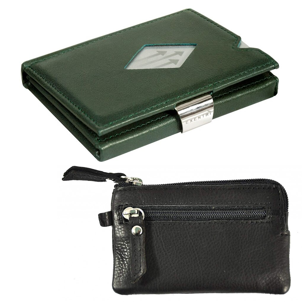 Exentri Wallet Green NON-RFID + leather key wallet