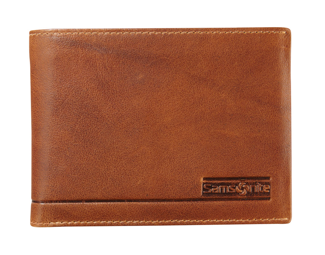 Samsonite Slant Billfold 8 Cards 1 Window Tan