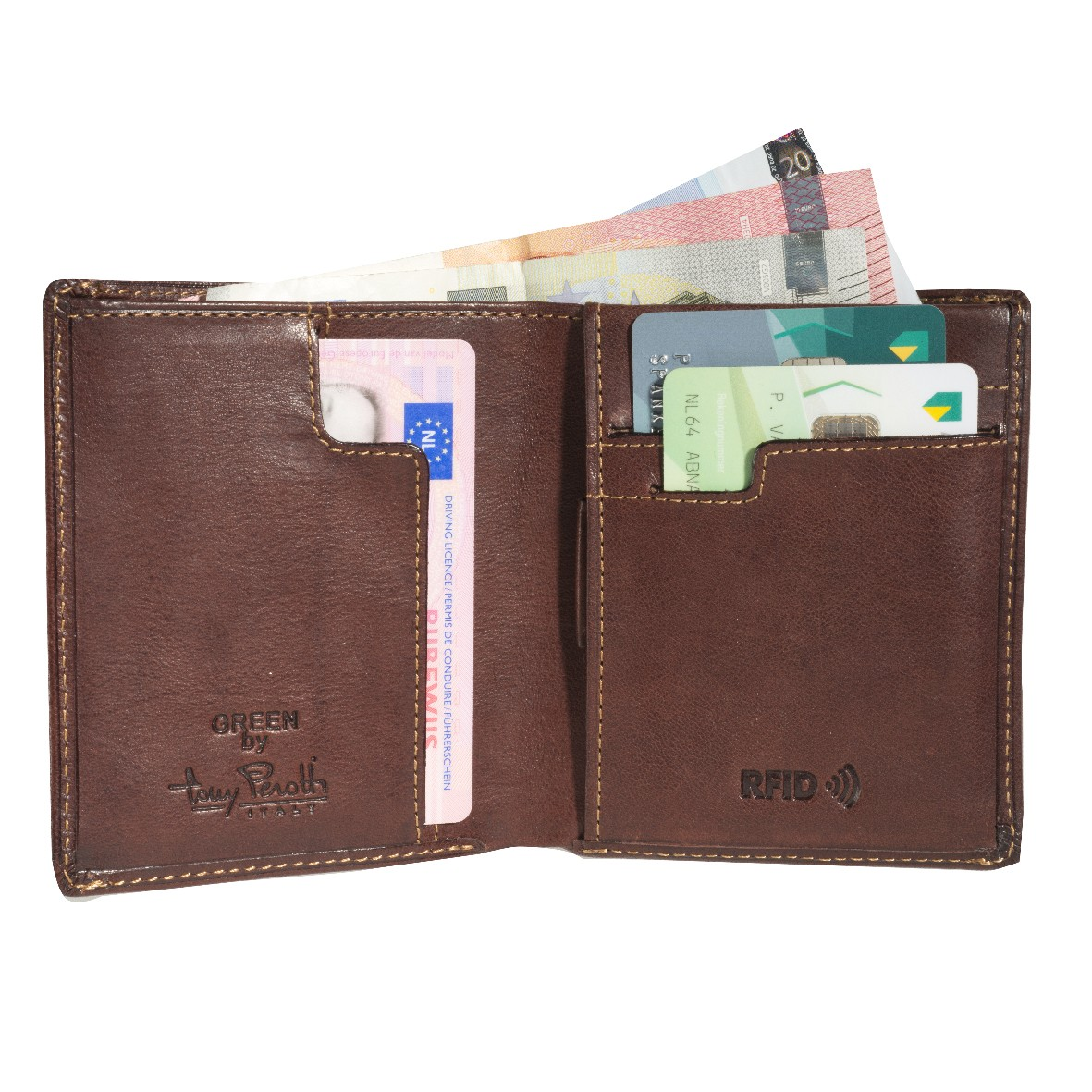 Tony Perotti Slim Vertical Billfold  with banknote and coin pocket and creditcard slot Brown